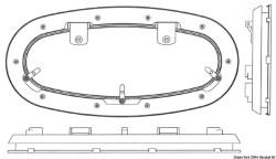 Oblò ellittico Bomar Flagship 173 x 514 mm