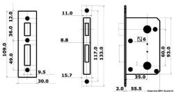 Serratura per WC e cabine Destra Esterna, Sinistra Interna