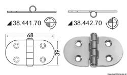 Cerniera inox 68x39 mm