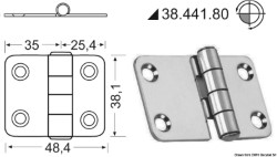 Cerniera nodo sporgente 60,4x38,1 mm