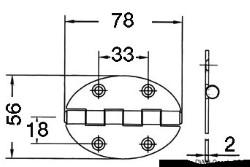 Cerniera 78x56mm 2mm viti