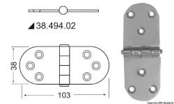 Cerniera inox 103x38 mm sporgente
