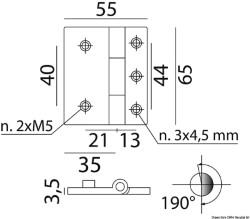 Cerniera ali asim. ot.cr.65x54