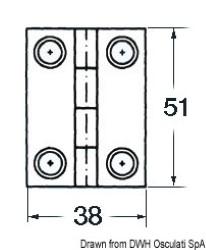 Cerniera inox cieca 51x38 rett