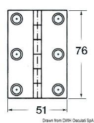Cerniera inox cieca 76x51 rett