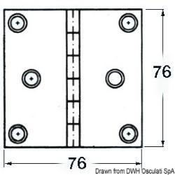 Cerniera inox cieca 76x76 quad
