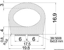 Profilo autoadesivo 17,5 x 16,9 mm
