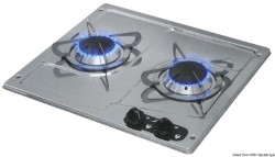 SS flush mount hob unit 2 burners 380x360 mm