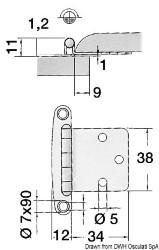 Cerniera inox piana 38x46 mm